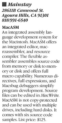 Mac GUI :: MacASM Macro Assembler by Mainstay